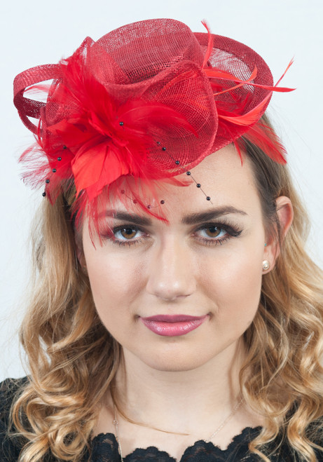Sinamay Red Top Hat Feather & Pearl Headpiece