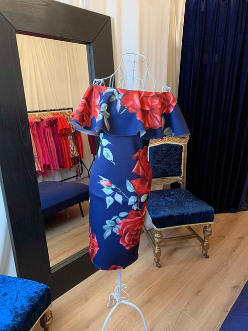 Savannah Navy Red Roses Ruffle Bardot Mdi Dress
