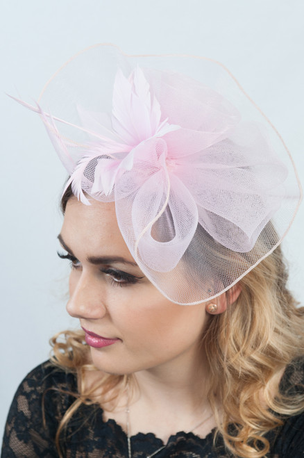 Baby Pink Floral Rose Disc Fascinator