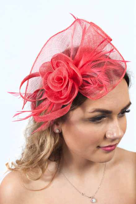 Coral Crush Floral Feather Sinamay Fascinator