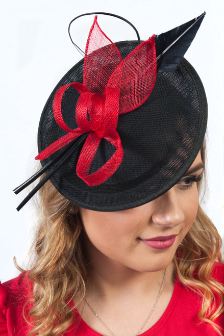 Pippa Sinamay Red Feather Quil Disc Fascinator