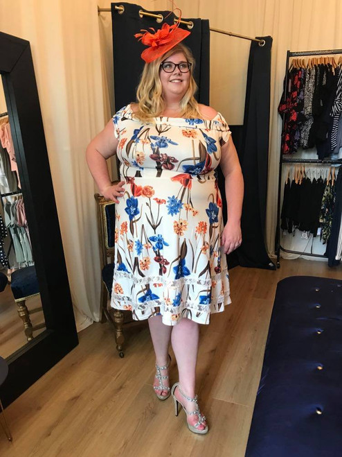 Bluebell Cream Floral Skater Dress Plus Collection