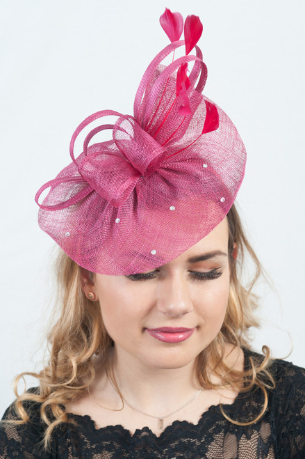 Luna Burgundy Diamante Sinamay Fascinator