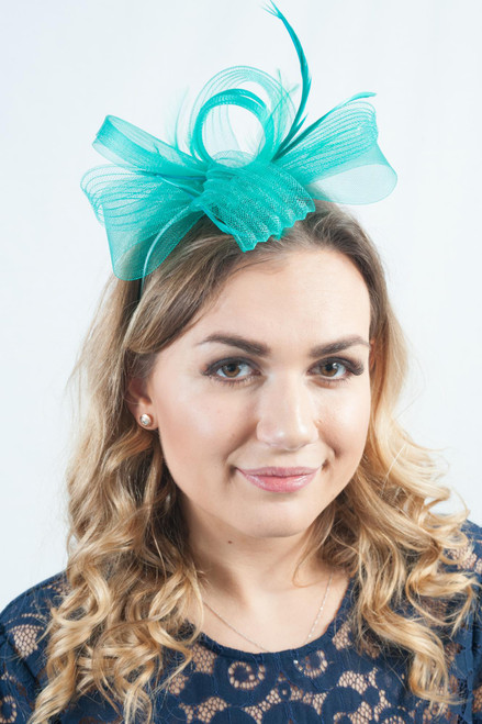 Teal Green Feather Bow Loop Fascinator