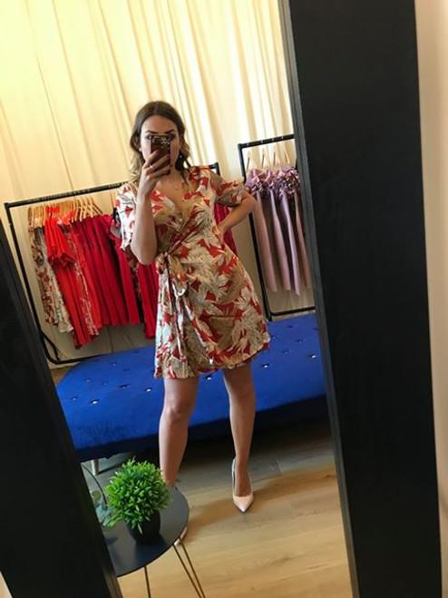 Fleur Cosmo-chic Leaf Print Burgundy & Gold Wrap Dress