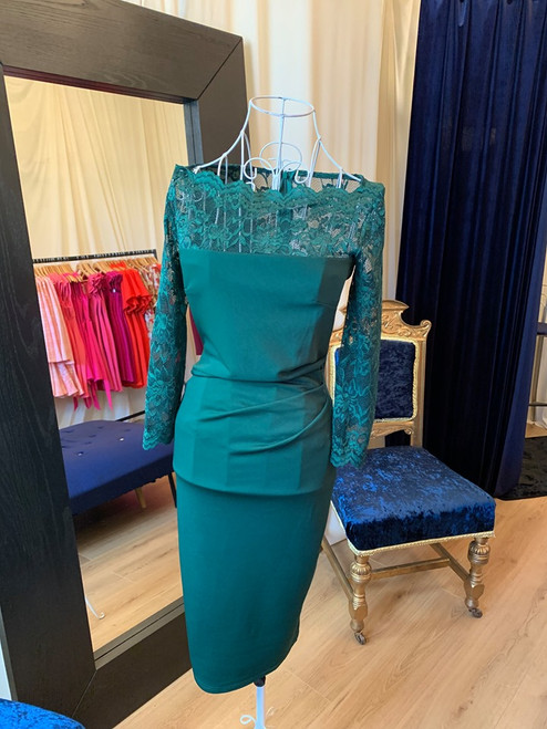 Luxe Collection 3/4 Sleeve Emerald Green Lace Midi Dress