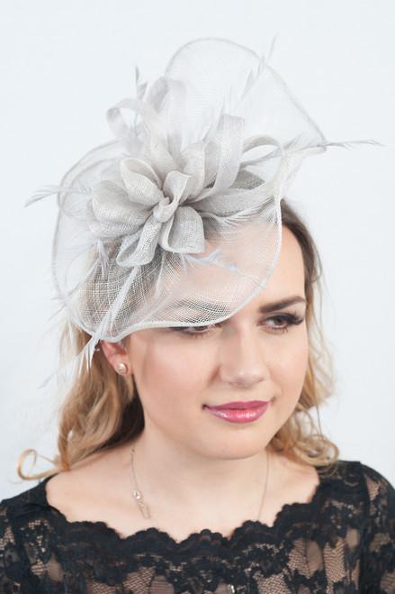 The Elegance Pale Grey Sinamay Fascinator