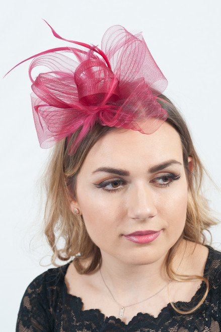 Very Berry Feather Loop Bow Fascinator