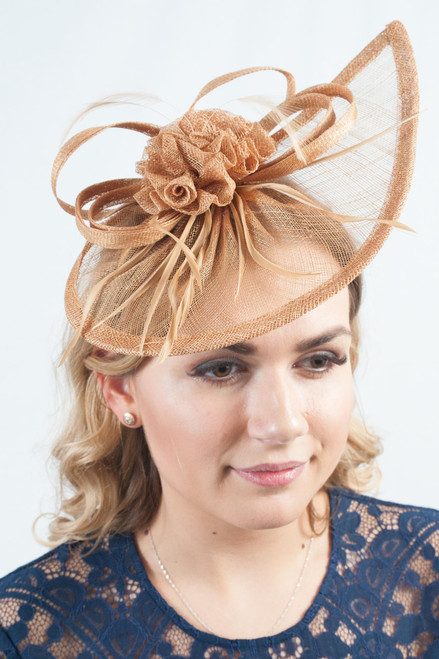 Autumnal Gold Teardrop Sinamay Fascinator