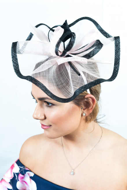 Pale Pink & Black Arrowhead Quill Sinamay Fascinator
