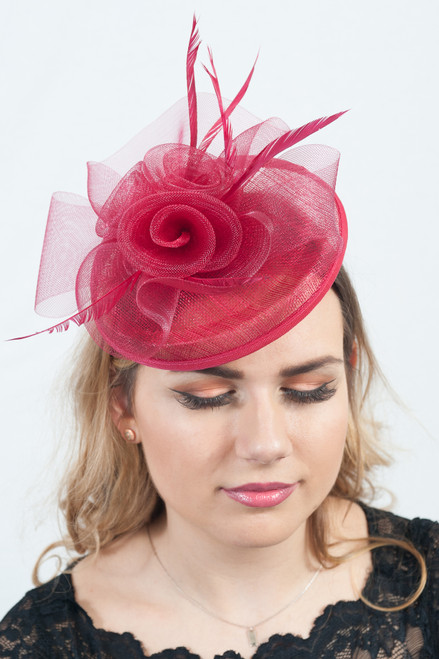 Crimson Red Pillar Box Sinamay Fascinator