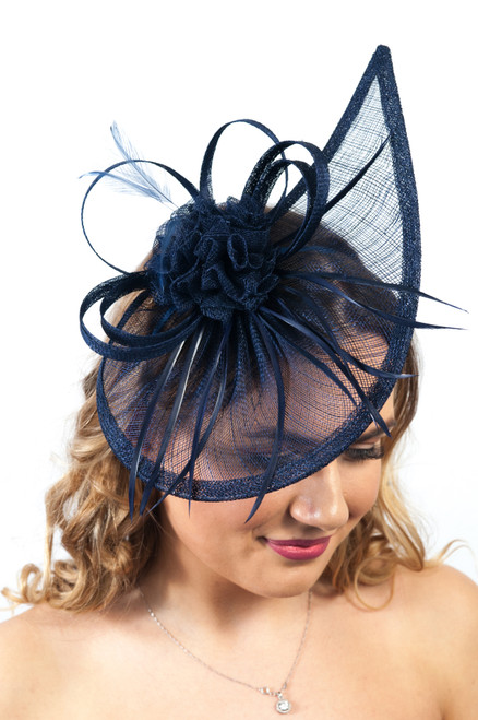 Midnight Navy Teardrop Sinamay Fascinator