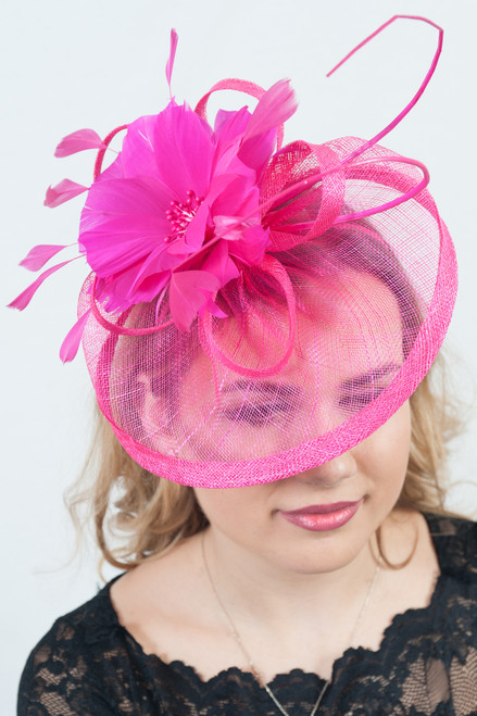 Hot Pink Antara Bloom Sinamay Fascinator