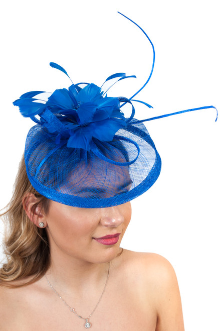Electric Blue Antara Bloom Floral Sinamay Fascinator