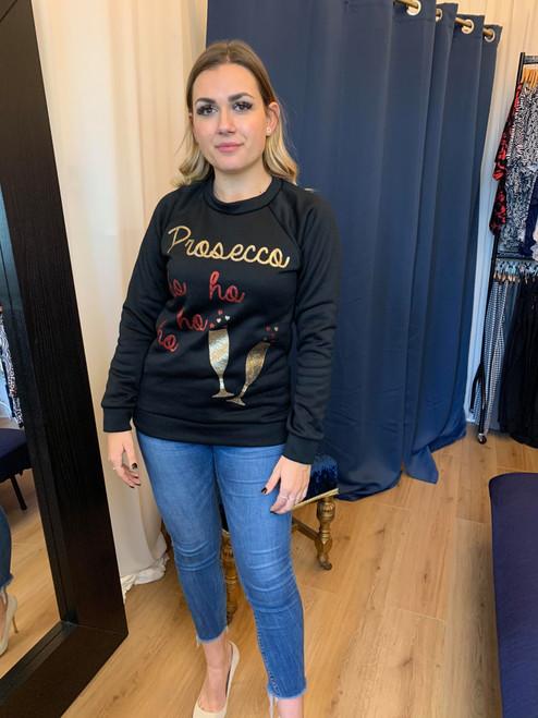 Black Prosecco Ho Ho Ho Glitter Christmas Sweatshirt