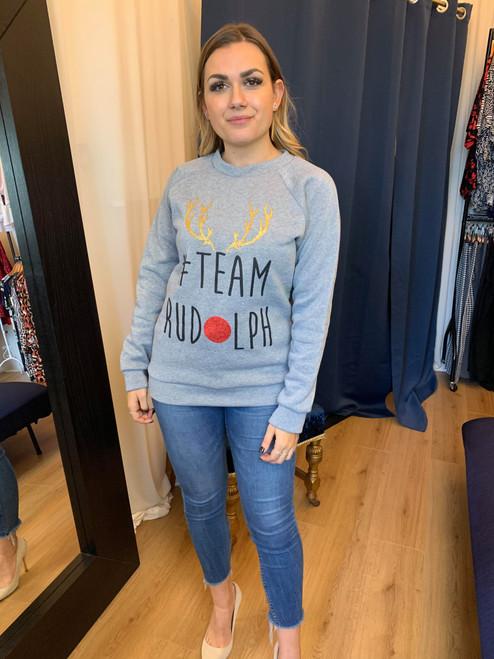 #TeamRudolph Grey Glitter Christmas Sweatshirt
