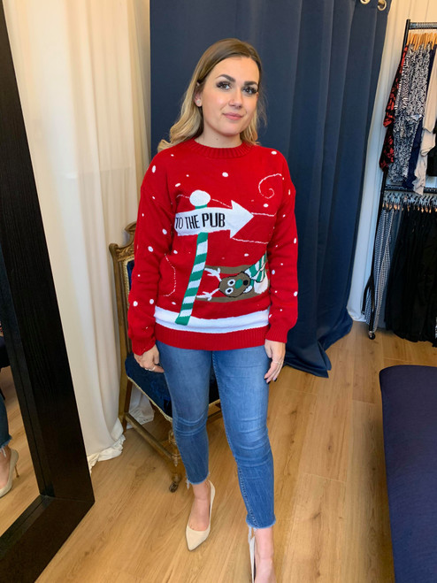 To The Pub Red Reindeer Christmas Novelty Jumper