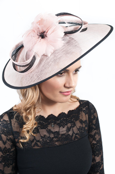 The Extravagance Blush Pink Extra Large Sinamay & Anatra Bloom Fascinator