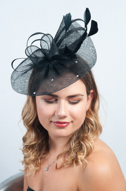 Luna Noir Black Diamante Sinamay Fascinator