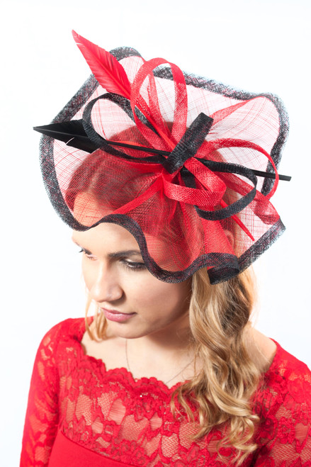 Rouge Red & Black Arrowhead Quill Sinamay Fascinator