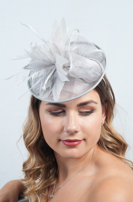 Pastel Grey Patricia Bloom Floral Feather Fascinator