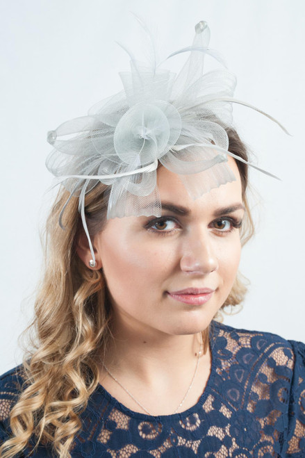 Promise Knotted Silver Feather Bow Fascinator