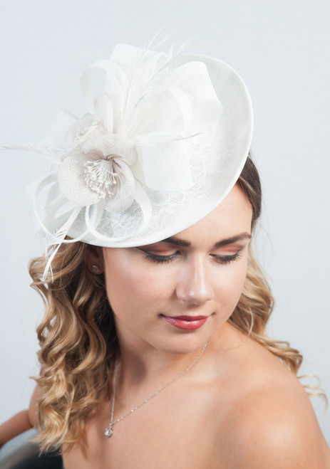 Le Blanc Lace Peony Loop Feather Fascinator