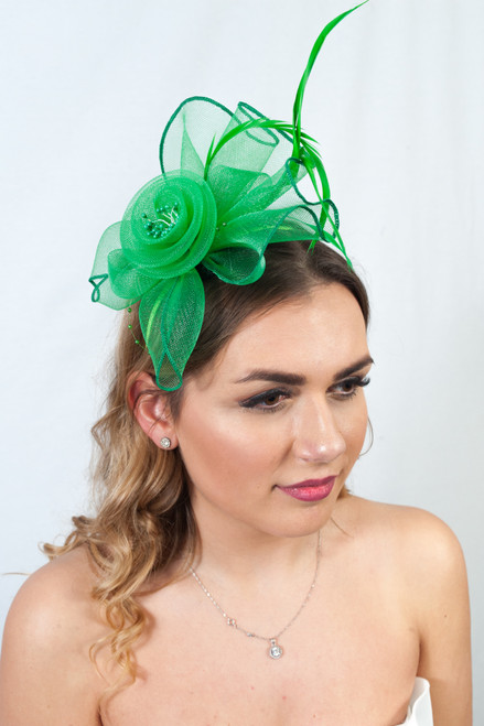 Light Emerald Pearl Feather Floral Frill Fascinator