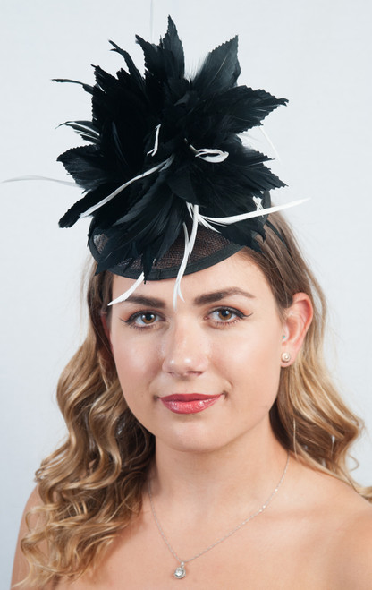 Monochrome Sweetpea Feather Floral Fascinator