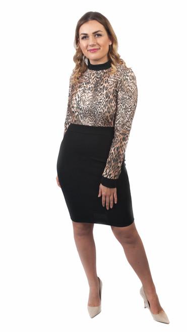 Stella Leopard Print Bodycon Long Sleeve Dress