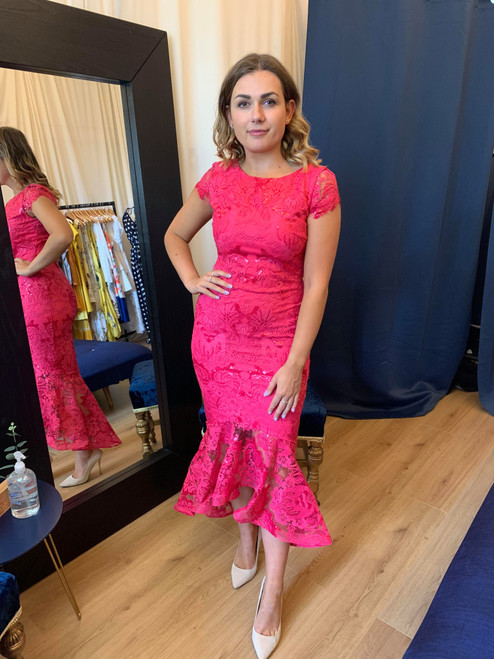 Anastasia Hot Pink Sequin Embellished Lace High Low Maxi Dress