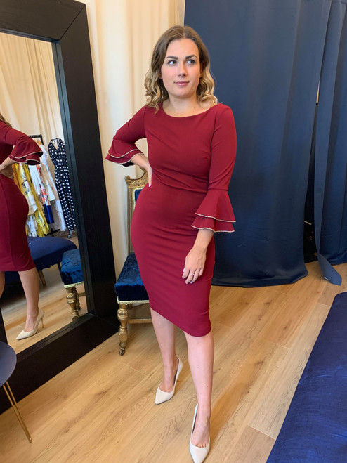 Sabrina Burgundy Diamante Trim Long Flare Sleeve Maxi Dress