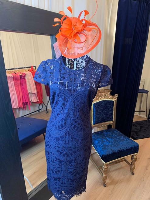 Donna Navy Lace Occasion Midi Dress