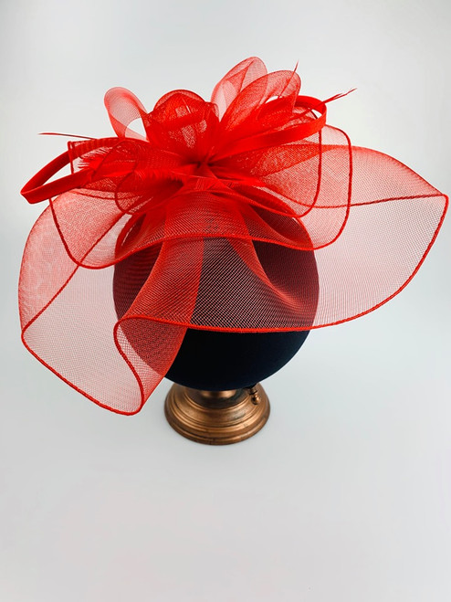 Large Red Feather & Twirl Veil Fascinator