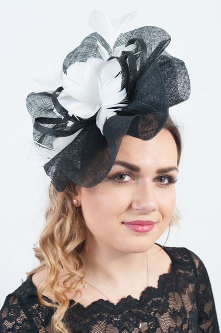 Poppy White & Black Oversize Statement Jewelled Fascinator