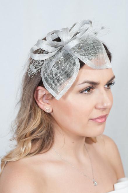 Shamrock Grey Sinamay Diamante Pom Pom Fascinator