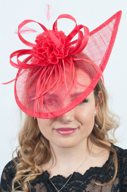 Cherry Red Teardrop Sinamay Floral Feather Fascinator