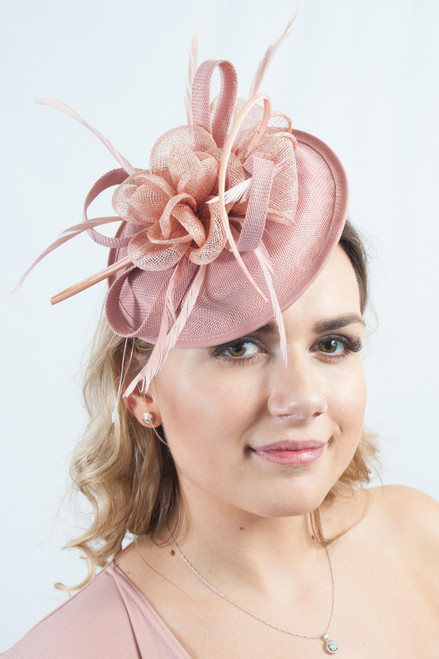 Dusky Pink Floral Feather Sinamay Disc Fascinator