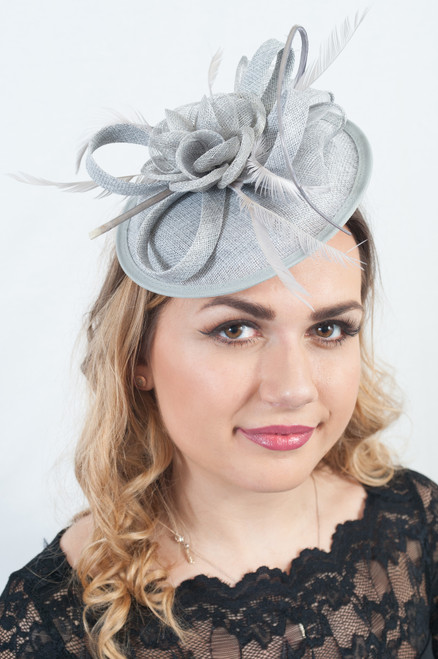 Glam Grey Floral Feather Sinamay Fascinator