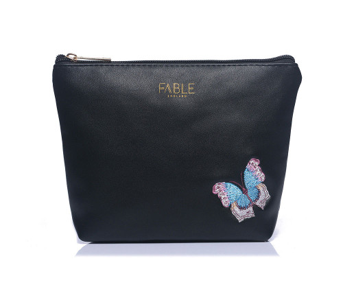 Fable England Black Embroidered Butterfly Make Up Pouch