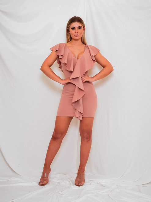Claire Waterfall Ruffle Front Rose Gold Mini Dress
