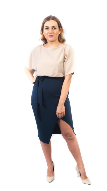 Celine Navy & Stone Batwing Belted Midi Dress