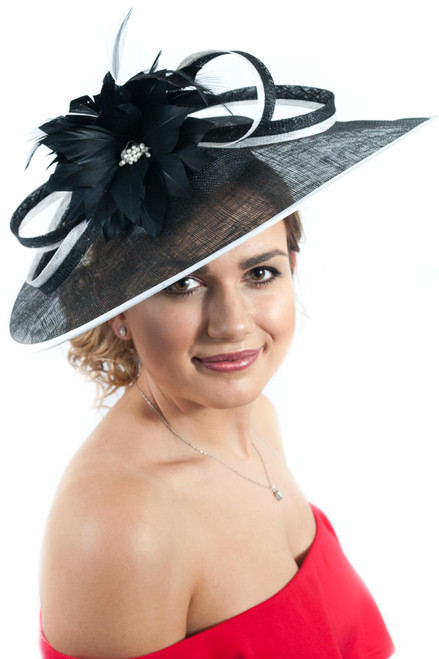 The Extravagance Black & Blanc Extra Large Sinamay & Anatra Bloom Fascinator