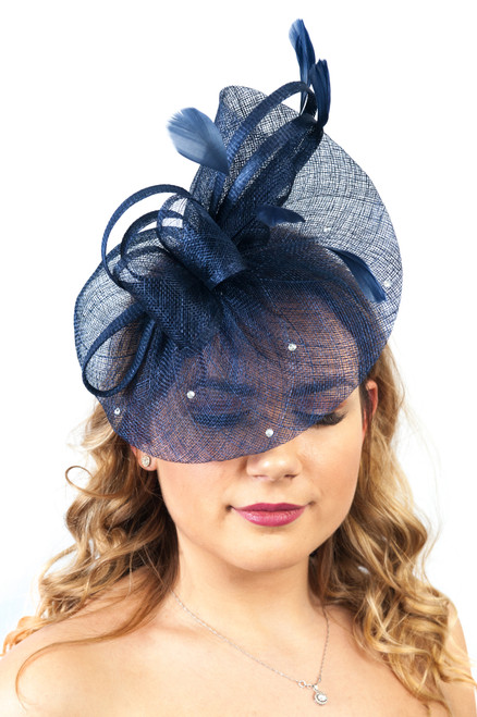 Luna Navy Diamante Sinamay Fascinator