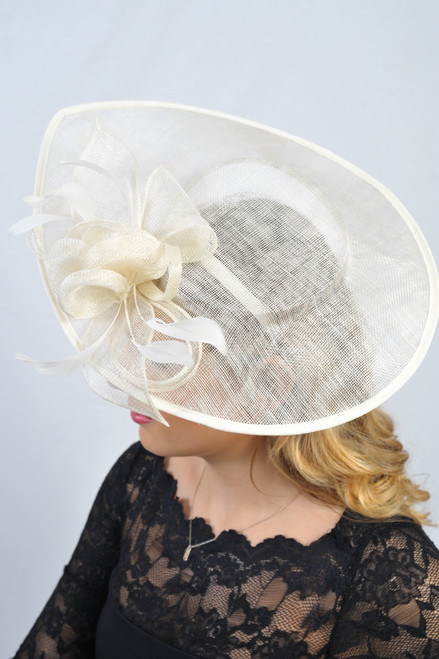 Oversized Teardrop Cream Floral Sinamay Hat Fascinator
