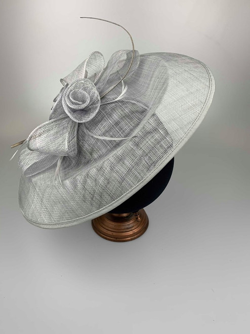 Oversized Grey Floral Sinamay Hatinator Fascinator