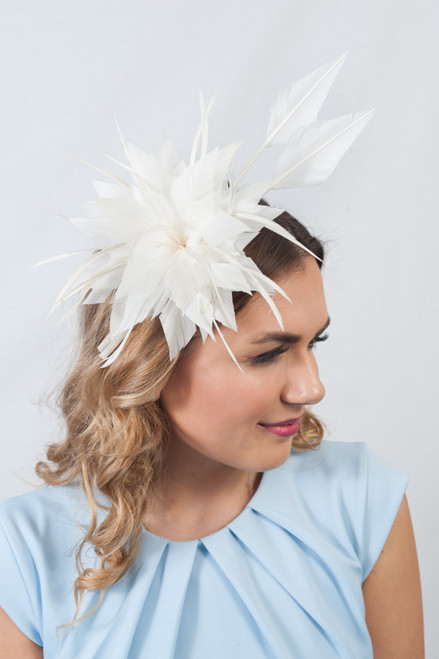 Ivory Statement Feather Plume Detail Fascinator