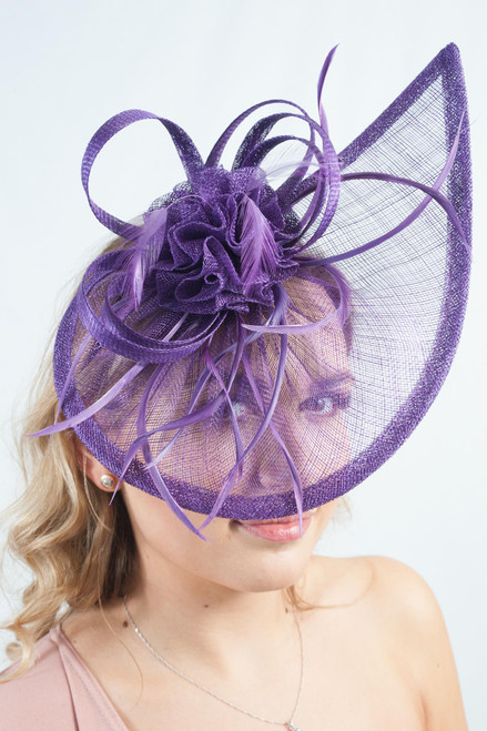 Deep Purple Teardrop Feather Sinamay Fascinator