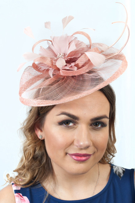 Dusky Pink  Antara Bloom Floral Sinamay Fascinator