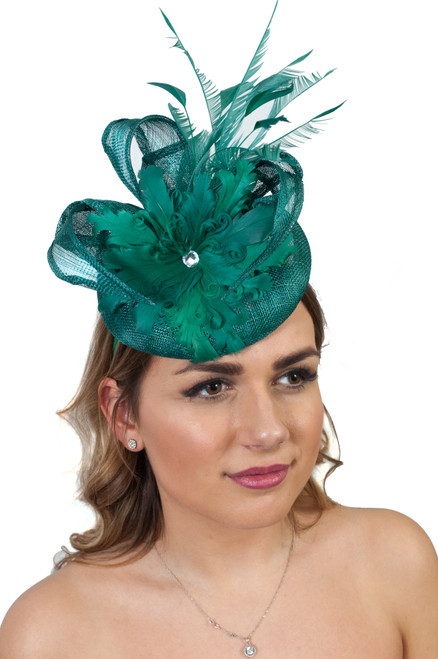 Emerald Green Showstopper Sinamay Curled Feather Diamante Fascinator
